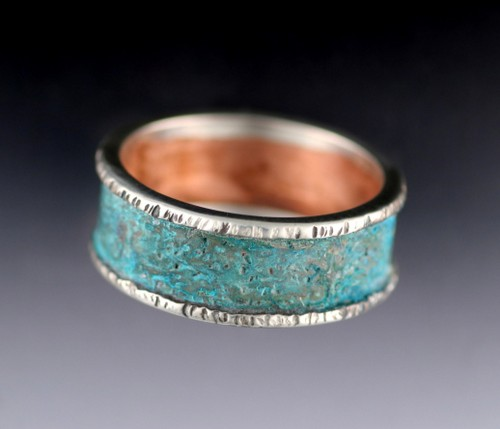 copper patina and sterling ring